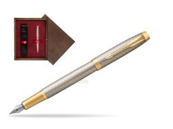Parker IM Premium Warm Silver GT Fountain Pen  single wooden box  Wenge Single Maroon