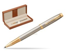 Parker IM Premium Warm Silver GT Rollerball Pen  in classic box brown