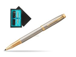 Parker IM Premium Warm Silver GT Rollerball Pen  single wooden box  Black Single Turquoise