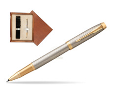 Parker IM Premium Warm Silver GT Rollerball Pen  single wooden box  Mahogany Single Ecru