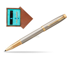 Parker IM Premium Warm Silver GT Rollerball Pen  single wooden box  Mahogany Single Turquoise