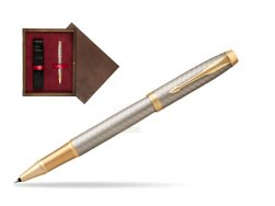Parker IM Premium Warm Silver GT Rollerball Pen  single wooden box  Wenge Single Maroon
