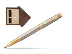 Parker IM Premium Warm Silver GT Rollerball Pen  single wooden box  Wenge Single Ecru