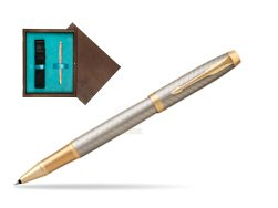 Parker IM Premium Warm Silver GT Rollerball Pen  single wooden box  Wenge Single Turquoise