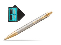 Parker IM Premium Warm Silver GT Ballpoint Pen  single wooden box  Black Single Turquoise
