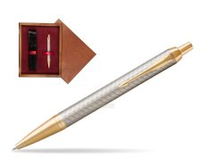 Parker IM Premium Warm Silver GT Ballpoint Pen  single wooden box Mahogany Single Maroon
