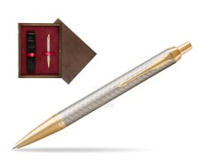 Parker IM Premium Warm Silver GT Ballpoint Pen  single wooden box  Wenge Single Maroon