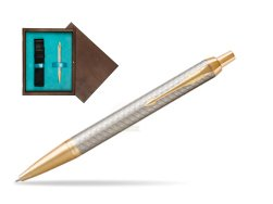 Parker IM Premium Warm Silver GT Ballpoint Pen  single wooden box  Wenge Single Turquoise