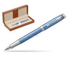 Parker IM Premium Blue CT Fountain Pen  in classic box brown