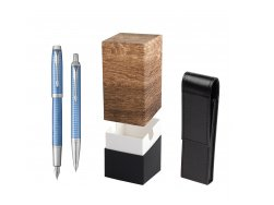Parker IM Premium Blue CT T2016 Fountain Pen + Ballpoint Pen in a Gift Box  StandUP Wood
