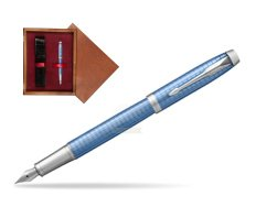 Parker IM Premium Blue CT Fountain Pen  single wooden box Mahogany Single Maroon