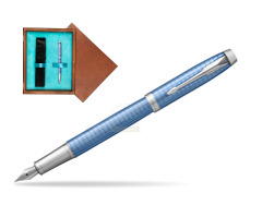 Parker IM Premium Blue CT Fountain Pen  single wooden box  Mahogany Single Turquoise