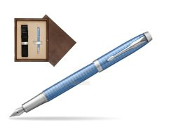 Parker IM Premium Blue CT Fountain Pen  single wooden box  Wenge Single Ecru