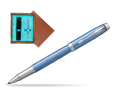 Parker IM Premium Blue CT Rollerball Pen  single wooden box  Mahogany Single Turquoise