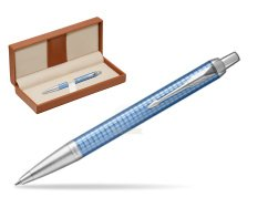 Parker IM Premium Blue CT Ballpoint Pen  in classic box brown