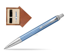 Parker IM Premium Blue CT Ballpoint Pen  single wooden box  Mahogany Single Ecru