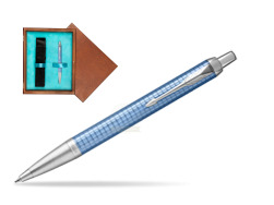 Parker IM Premium Blue CT Ballpoint Pen  single wooden box  Mahogany Single Turquoise