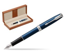 Parker Sonnet Subtle Blue CT Fountain Pen  in classic box brown
