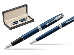 Parker Sonnet Blue CT Fountain Pen + Ballpoint Pen in a Gift Box  in classic box  pure black