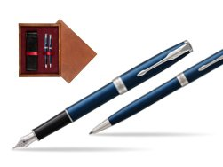 Parker Sonnet Blue CT Fountain Pen + Ballpoint Pen in a Gift Box  double wooden box Mahogany Double Maroon