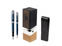 Parker Sonnet Blue CT Fountain Pen + Ballpoint Pen in a Gift Box  StandUP For Men Only