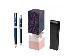 Parker Sonnet Blue CT Fountain Pen + Ballpoint Pen in a Gift Box  StandUP Roses