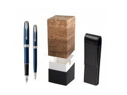 Parker Sonnet Blue CT Fountain Pen + Ballpoint Pen in a Gift Box  StandUP Wood