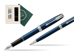 "Parker Sonnet Blue CT Fountain Pen + Ballpoint Pen in a Gift Box  ""Science"""