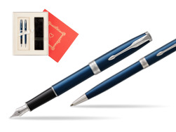 "Parker Sonnet Blue CT Fountain Pen + Ballpoint Pen in a Gift Box in Gift Box ""Red Love"""