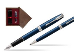 Parker Sonnet Blue CT Fountain Pen + Ballpoint Pen in a Gift Box  double wooden box Wenge Double Maroon