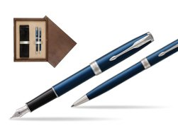 Parker Sonnet Blue CT Fountain Pen + Ballpoint Pen in a Gift Box  double wooden box Wenge Double Ecru