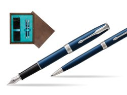Parker Sonnet Blue CT Fountain Pen + Ballpoint Pen in a Gift Box  double wooden box Wenge Double Turquoise