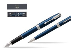Parker Sonnet Blue CT Fountain Pen + Ballpoint Pen in a Gift Box