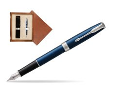 Parker Sonnet Subtle Blue CT Fountain Pen  single wooden box  Mahogany Single Ecru