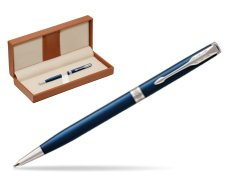 Parker Sonnet Subtle Blue Slim CT Ballpoint Pen  in classic box brown