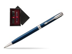 Parker Sonnet Subtle Blue Slim CT Ballpoint Pen  single wooden box  Black Single Maroon