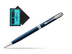Parker Sonnet Subtle Blue Slim CT Ballpoint Pen  single wooden box  Black Single Turquoise