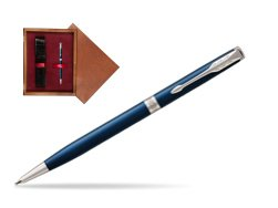 Parker Sonnet Subtle Blue Slim CT Ballpoint Pen  single wooden box Mahogany Single Maroon