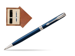 Parker Sonnet Subtle Blue Slim CT Ballpoint Pen  single wooden box  Mahogany Single Ecru