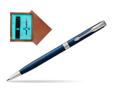 Parker Sonnet Subtle Blue Slim CT Ballpoint Pen  single wooden box  Mahogany Single Turquoise