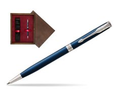 Parker Sonnet Subtle Blue Slim CT Ballpoint Pen  single wooden box  Wenge Single Maroon