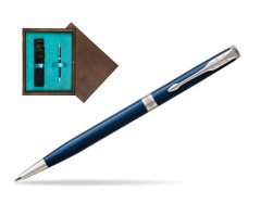 Parker Sonnet Subtle Blue Slim CT Ballpoint Pen  single wooden box  Wenge Single Turquoise
