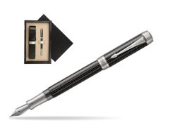 Parker Duofold Prestige Black Chevron Centennial CT Fountain Pen  single wooden box  Wenge Single Ecru