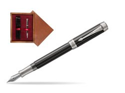Parker Duofold Prestige Black Chevron Centennial CT Fountain Pen  single wooden box Mahogany Single Maroon