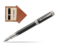 Parker Duofold Prestige Black Chevron Centennial CT Fountain Pen  single wooden box  Mahogany Single Ecru