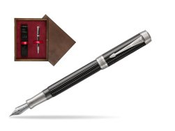 Parker Duofold Prestige Black Chevron Centennial CT Fountain Pen  single wooden box  Wenge Single Maroon