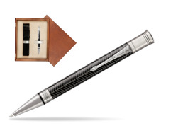 Parker Duofold Prestige Black Chevron CT Ballpoint Pen  single wooden box  Mahogany Single Ecru