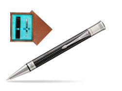 Parker Duofold Prestige Black Chevron CT Ballpoint Pen  single wooden box  Mahogany Single Turquoise