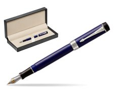 Parker Duofold Classic Blue & Black Centennial CT Fountain Pen  in classic box  pure black