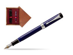 Parker Duofold Classic Blue & Black Centennial CT Fountain Pen  single wooden box Mahogany Single Maroon